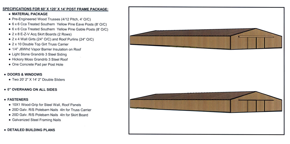 Post frame building 60x120x12 d yoder construction for Post frame building plans